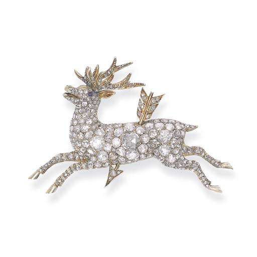 AN ANTIQUE DIAMOND STAG BROOCH