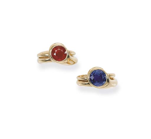 A PAIR OF RUBY AND SAPPHIRE RINGS, BY BOIVIN