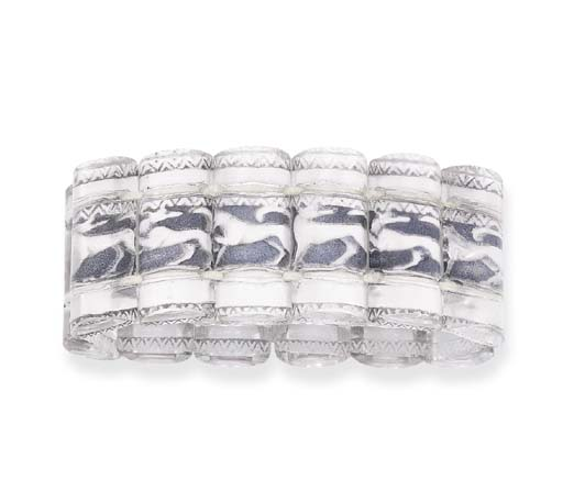 A CARVED GLASS BRACELET, BY LALIQUE