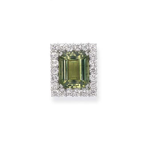 A PERIDOT AND DIAMOND CLUSTER