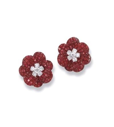 AN EXQUISITE PAIR OF RUBY AND