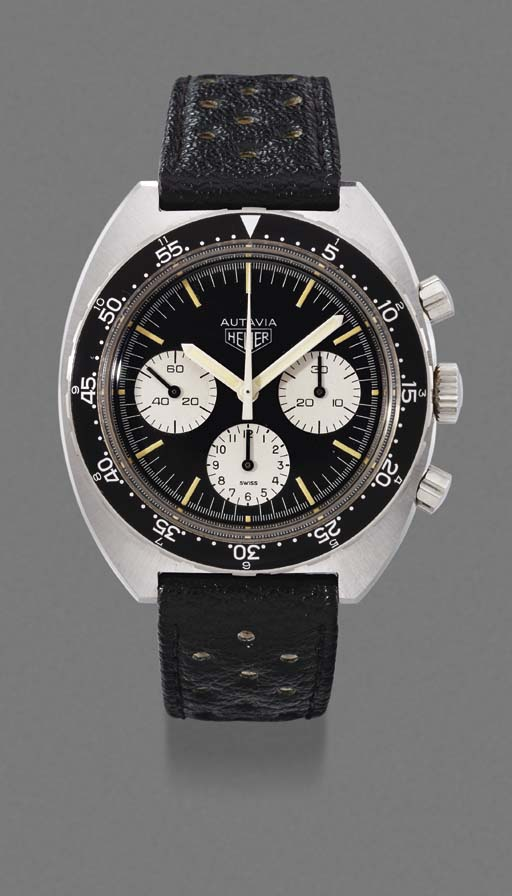 Heuer. A large stainless steel