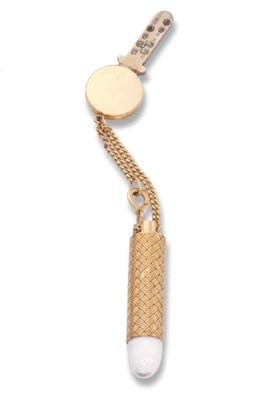 A GOLD KEY AND TORCH HOLDER, B