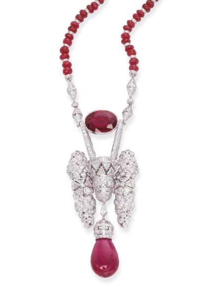 A RUBELLITE AND DIAMOND NECKLA
