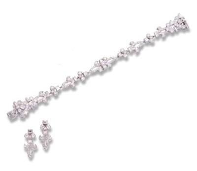 A DIAMOND BRACELET AND A PAIR