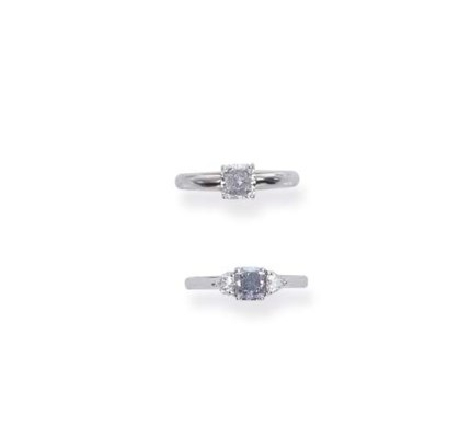 TWO COLOURED DIAMOND RINGS, BY