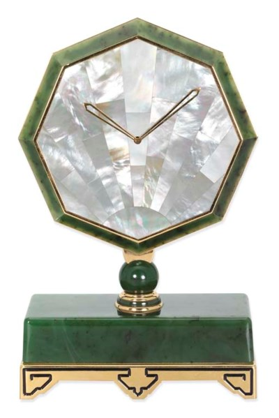 A NEPHRITE AND MOTHER-OF PEARL