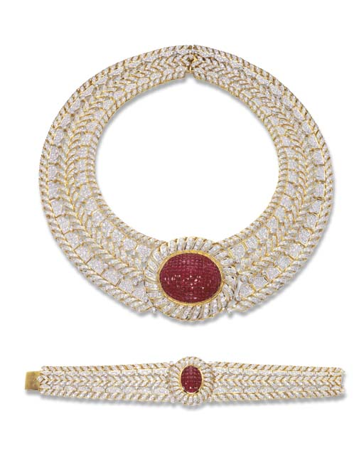 A RUBY AND DIAMOND NECKLACE AN