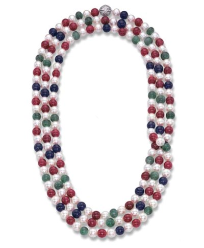 A GEM-SET AND CULTURED PEARL S