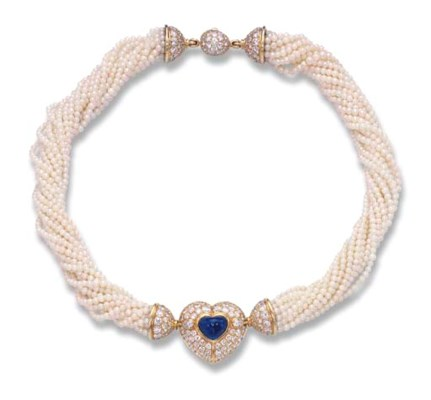 A SEED PEARL AND GEM-SET NECKL