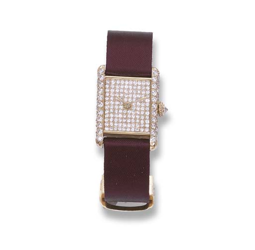A GOLD AND DIAMOND TANK WRISTW