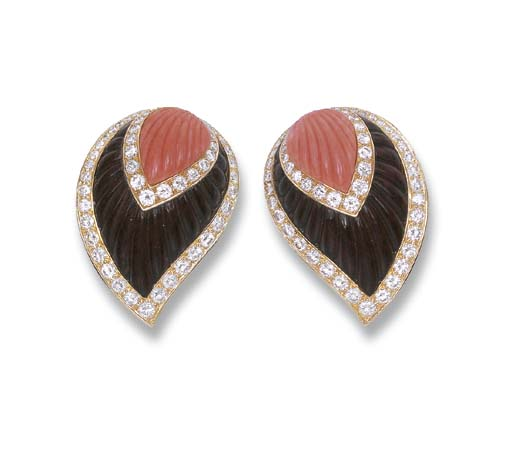 A PAIR OF WOOD, CORAL AND DIAM