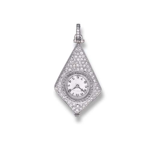 AN ART DECO DIAMOND WATCH PEND