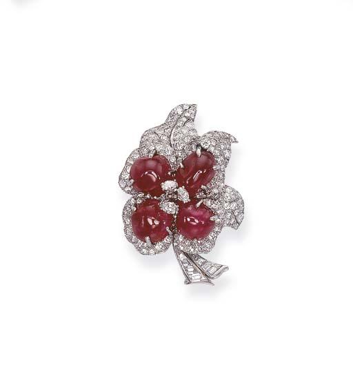 A RUBY AND DIAMOND FLOWER CLIP