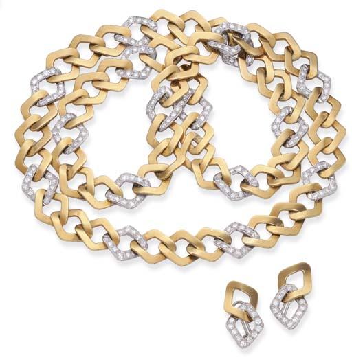 A GOLD AND DIAMOND SAUTOIR AND
