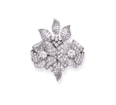 A DIAMOND FLOWER BROOCH, BY BA