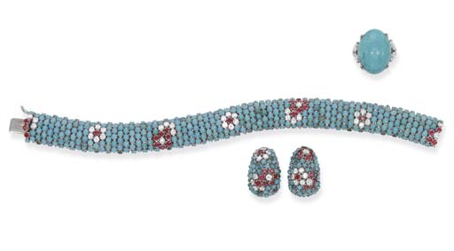 A TURQUOISE, RUBY AND DIAMOND
