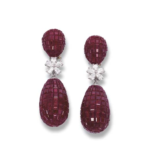 A PAIR OF INVISIBLY-SET RUBY A