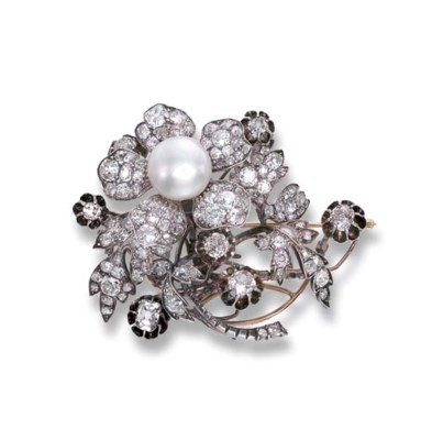 A NATURAL PEARL AND ANTIQUE DI