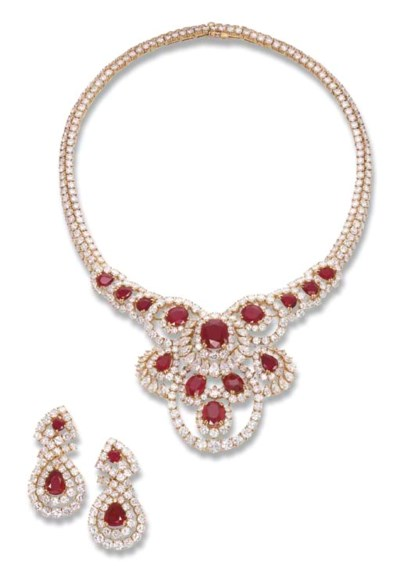 A RUBY AND DIAMOND SUITE, BY M