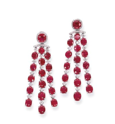 A PAIR OF RUBY AND DIAMOND PEN