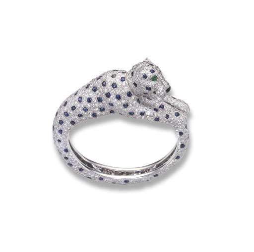 A DIAMOND AND SAPPHIRE PANTHER