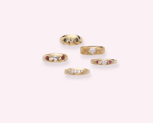 A GROUP OF GEM-SET GYPSY RINGS