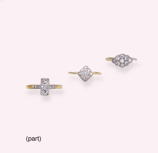 A GROUP OF DIAMOND RINGS