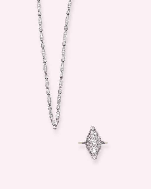 AN ART DECO DIAMOND CHAIN AND