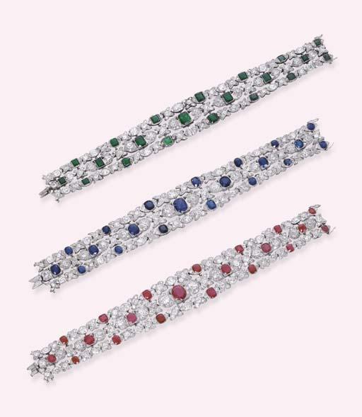 A SET OF THREE BELLE EPOQUE GEM-SET AND DIAMOND BRACELETS
