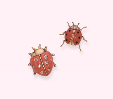 TWO CORAL AND DIAMOND LADYBIRD