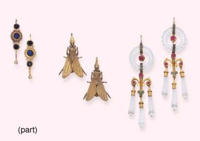 FIVE PAIRS OF ANTIQUE EARRINGS