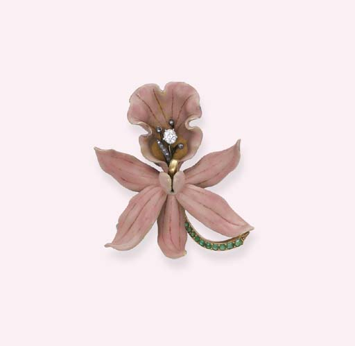 AN ART NOUVEAU PINK ENAMEL 'CALANTHE VEITCHII' ORCHID BROOCH, BY TIFFANY & CO