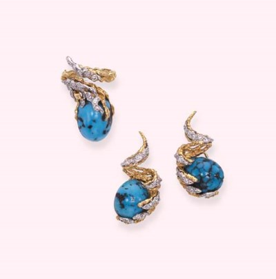 A TURQUOISE AND DIAMOND SET, B