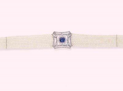 A SAPPHIRE, DIAMOND AND PEARL