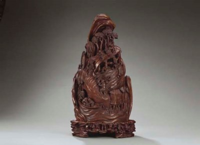 A RARE LARGE CARVED BAMBOO MOU