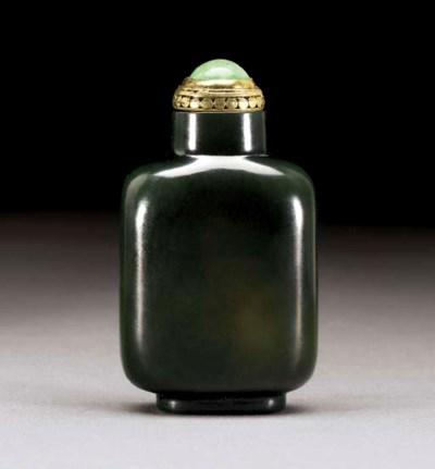 A FINE SAGE-GREEN JADE SNUFF B
