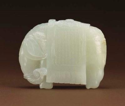 A FINE WHITE JADE ELEPHANT