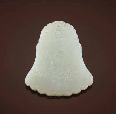 A WHITE JADE BELL-SHAPED PENDA