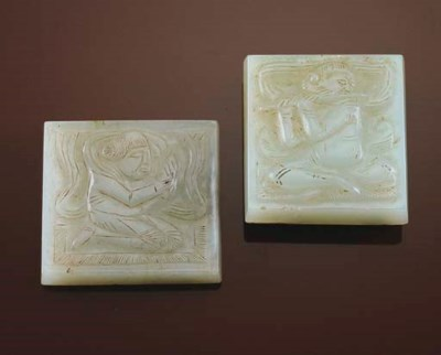 TWO WHITE JADE BELT PLAQUES