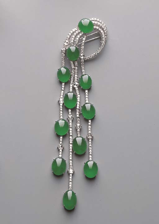 A JADEITE AND DIAMOND PENDANT/