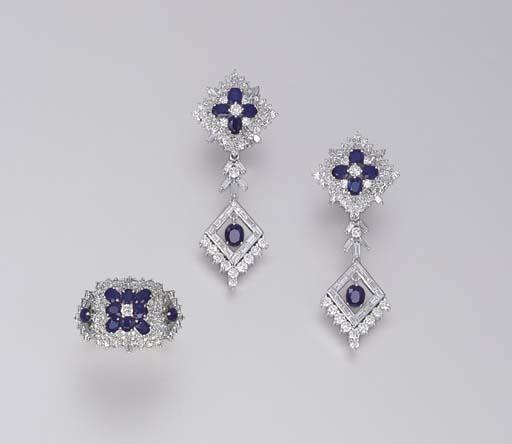A SET OF SAPPHIRE AND DIAMOND