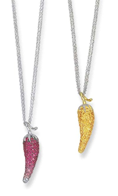 A PAIR OF PINK OR YELLOW SAPPH