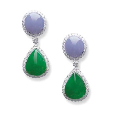 A PAIR OF JADEITE AND LAVENDER