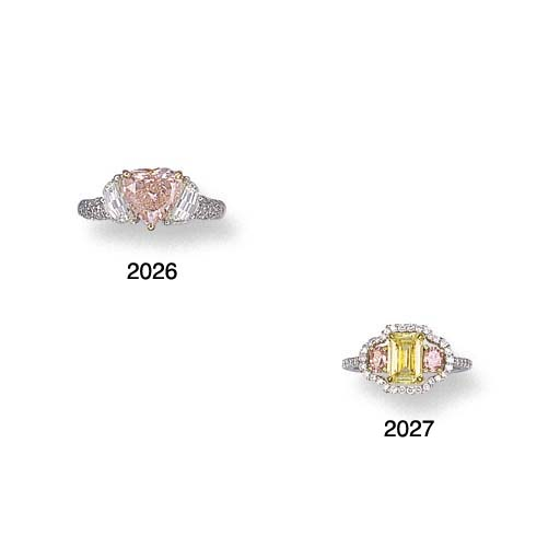 A FANCY PINK DIAMOND AND DIAMO