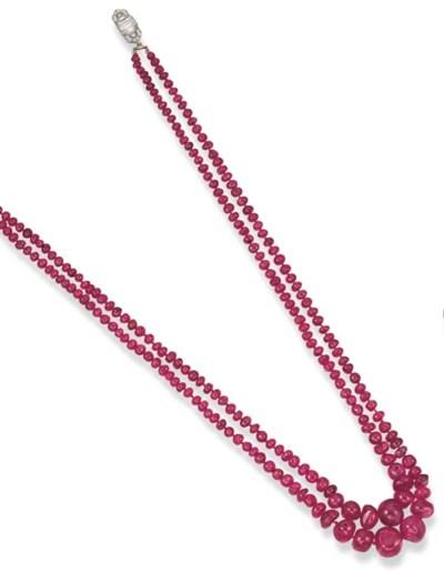 A TWO-STRAND RUBY BEAD AND DIA