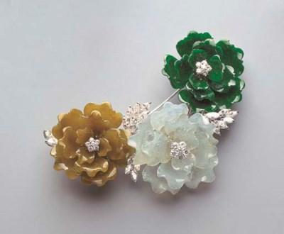 A JADEITE AND DIAMOND FLORAL C