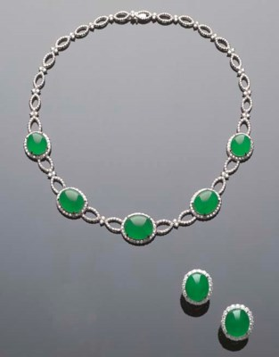 A SUITE OF JADEITE AND DIAMOND