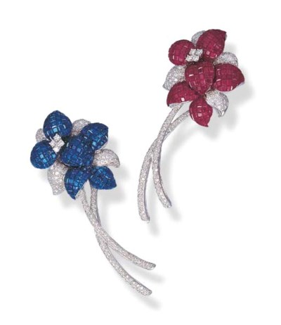 A PAIR OF RUBY OR SAPPHIRE AND