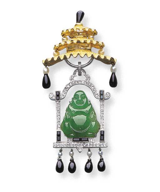 A JADEITE BUDDHA, DIAMOND, ONY